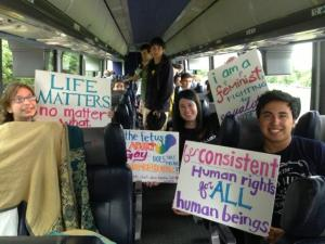 Inside bus of imported protestors by Rick Perry – I'm thinking some of these kids may need the services of Planned Parenthood very soon.