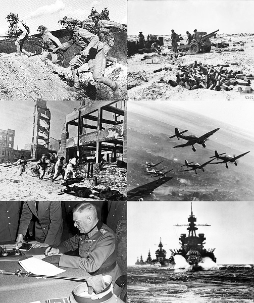 Top L: Battle of Wanjialing, Top R: First Battle of El Alamein, Mid L: Battle of Stalingrad, Mid R: German dive bombers over East Front winter 1943-1944, Bottom L: Wilhelm Keitel signing German Instrument of Surrender, Bottom R: Invasion of Lingayen Gulf