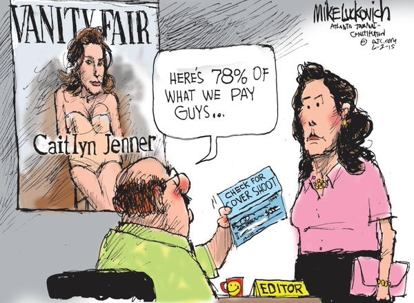 Caitlyn Jenner learns women's pay Cartoon