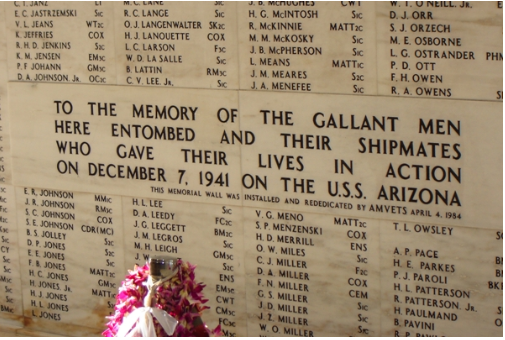 USS Arizona Memorial Names